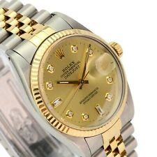Rolex Datejust Mens Watch Two-Tone Champagne 8+2 Diamond Dial Fluted Bezel 36mm