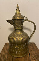 Antique Vtg Islamic Persian Brass Repousse Dallah Ewer Pitcher Water Jug - 18.5""