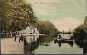 Askern, S Yorkshire - Manor Baths, Spa lake - local postcard by Wardle c.1905-10
