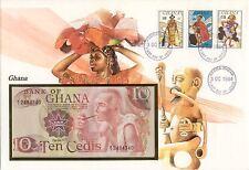 superbe enveloppe GHANA billet de banque  10 C 1978 UNC NEW NEUF + TIMBRES