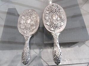 Antiker Handspiegel mit Haarbürste China TAK-SHANG CANTON Silber 19.Jhd