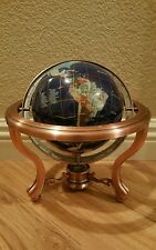 "9"" World Globe Lapis Lazuli GEM GEMSTONE 3 Leg Claw Feet Copper Table Stand NICE"