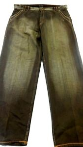 KNOCKOUT MENS BROWN WASH STRAIGHT LEG EMBELLISHED JEANS SIZE 40 X 33