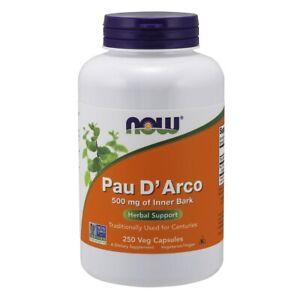 Now Foods Pau D' Arco 500 mg - 250 Veg Capsules FRESH, FREE SHIPPING