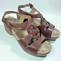 Women's Dansko Brown Leather Strappy Ankle Strap Shoes Sandals-EU 40-US 9.5/10