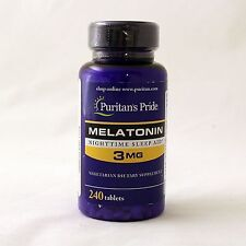 Puritan's Pride Melatonin 3 mg 240 Tablets Sleep Aid Free Shipping 2 x 120 USA