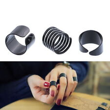 3pcs Finger Stack Knuckle Band Midi Ring Black Spiral Rings Steampunk