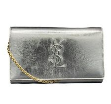 YSL SAINT LAURENT BELLE DE JOUR LEATHER CROSSBODY WALLET PURSE MOON MRSP:$1425