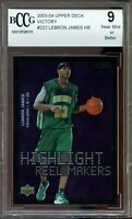 2003-04 Upper Deck Victory #222 Lebron James Rookie Card BGS BCCG 9 Near Mint+