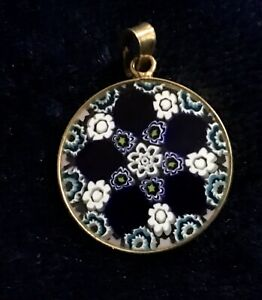 Pendant From Italy, Blue And White Canes