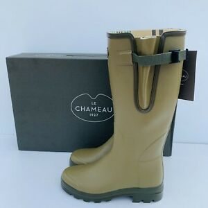 Le Chameau Verzon M Mens Vert Green Lined Wellington Boot Size UK 8 EUR 42 US 9