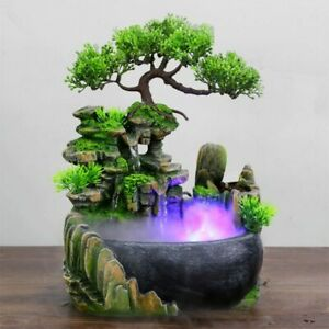 Water Fountain Desktop Chinese Fengshui Ornament Waterfall Indoor Decor + video