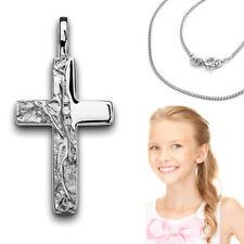 Echt Weiß Gold 585 Kinder Kommunion Zirkonia Kreuz gehämmert mit Silber Kette