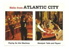 ATLANTIC CITY NJ Playing Slots Blackjack Table Postcard