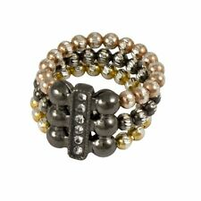 Sterling Silver Gold-Tone Black Rose Balls White Crystals Stretch Ring