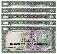 MOZAMBIQUE 100 ESCUDOS 1961 ( 1976 ) UNC 5 PCS CONSECUTIVE LOT P 117