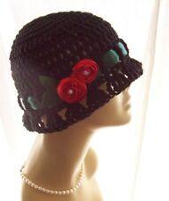 SALE ~ OOAK New 100% Black Cotton Cloche Hat 20s Satin Rose