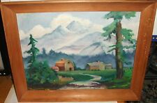 ORIGINAL OIL ON BOARD WILDERNESS LANDSCAPE BARN PAINTING UNSIGNED