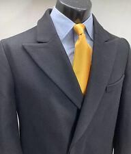 Carven Wool Black Overcoat Top Coat Men's 40 R Peak Lapel