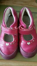 Clarks soft leather shoes dark pink cerise infant size 5f