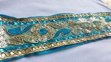 6.5cm- 1 meter Beautiful turquoise and gold embroidered sequins lace trimming