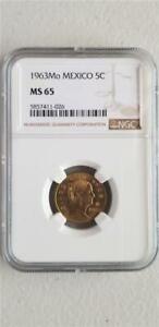 Mexico 5 Centavos 1963Mo  NGC MS 65