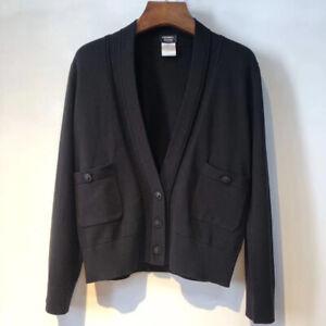 Authentic Chanel Uniform Black Wool Cardigan- Size M, L