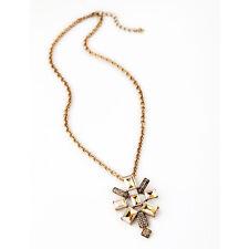 N2915 Brand 2 IN 1 Jewelry Art Deco Topaz Square Gem Stone Pendant Necklace