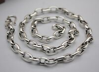 Pure S925 Sterling Silver Chain Men Women 6mm Oval Link Necklace/ 20inch/ 27-28g