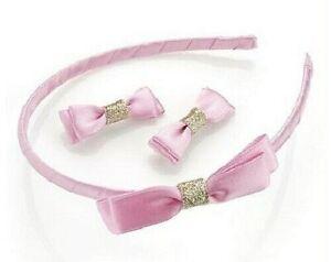 Girls Satin Bow Hair Band Headband Alice Band & 2 Hair slides * Pink