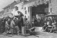 China, CHINESE STREET BARBER CUTS HAIR dashu laotou ~ 1842 Art Print Engraving