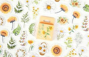 DAISY & SUNFLOWER STICKERS Flower Leaf Floral Scrapbook Card Craft Decoration