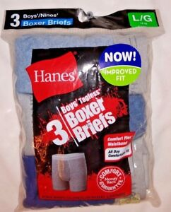 Hanes Boys Boxer Briefs 3 pair package  Large  Solid Colors  New