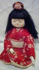 "VNTG Japanese Doll Child Lady Dohji Kimekomi Kawaii Ningyo Kimono Fabric 7.5"""