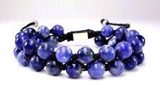 Men'S Natural Sodalite Gemstone Double Beaded Shamballa Silver Jewelry Bracelet