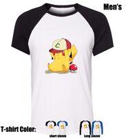 Cartoon Pikachu hat play Partten Cotton Shirt Boy's men's Graphic T Shirt Tee