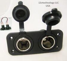 Dual Heavy Duty 20 Amp 12 Volt RV Plug  Lighter Socket High Power Outlet Panel