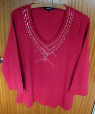 LADIES NEW BRICK RED EMBELLISHED V NECK T-SHIRT BY DEBENHAMS SIZE 18