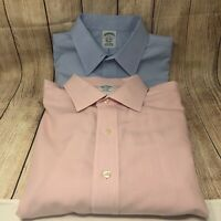 Lot Of 2 BROOKS BROTHERS Slim Fit Non Iron Cotton Pink/ Dress Shirt Sz 16.5 - 34