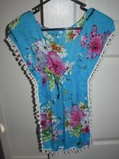 Girl's Light Blue Floral Pom Pom Fringe Hippy Boho Dress Size XL (2-3-4 yrs)