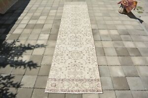 Turkish Runner Rug,2.2x9.9ft ,Faded Red Rug,Hallway Runner Rug,Old Floor Mat.
