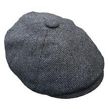G&H Dark Grey Herringbone Wool Newsboy 8 Panel Peaky Blinders Style Flat Cap Hat