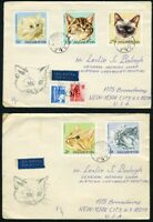 HUNGARY 1968 CATS  FIRST DAY COVERS TO NEW YORK