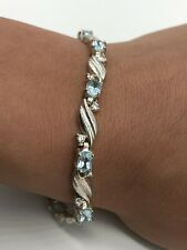 "Thailand Han Sterling Silver Blue Topaz & CZ Tennis Bracelet 7.5"""