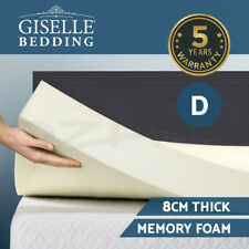 Giselle Bedding Memory Foam Mattress Topper 8cm Underlay Cover Protector Queen S