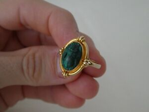 Antique Egyptian Revival 9CT Gold & Malachite Scarab Ring Size N