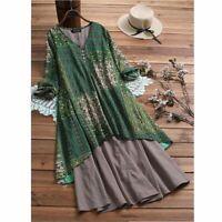 Women Ladies Boho Retro Floral Print Baggy Cotton Linen Long Sleeve Dress Loose