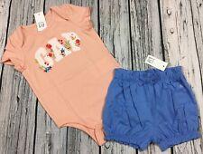 Gap Girls 0-3 Months Pink Floral Logo Shirt & Blue Bloomer Shorts Outfit. Nwt