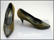 SANDLER WOMEN'S VINTAGE DARK OLIVE GREEN HEELS SHOES SIZE 7.5 B