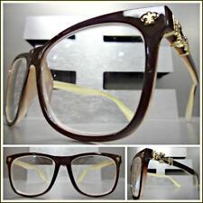 da392bab029 Men VINTAGE RETRO Style READING EYE GLASSES READERS Brown Frame Gold Cross + 2.00